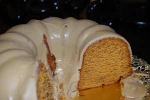 Garnet Yam Cake with Brown Sugar Sauce and Candied Pecans