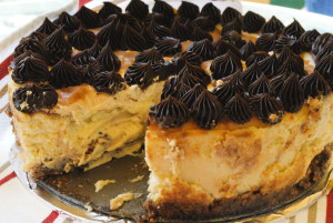 Caramel Cheesecake with Salted Caramel and Chocolate Ganache