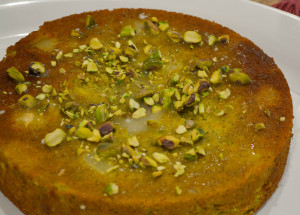 Pistachio Pear Yogurt Cake